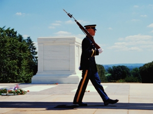 A US Marine marching at Arlington Cemetary